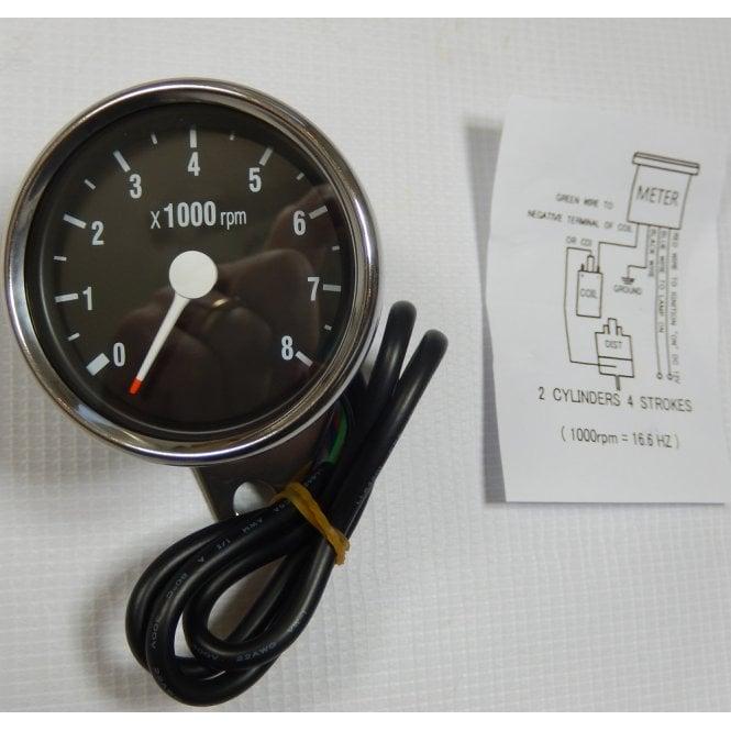 Honda Electronic Tachometer 0-8000 RPM Stainless Steel Body 60mm Diameter Black Face