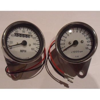Honda Speedometer & Tachometer Matching Set With White Face