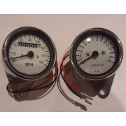 Speedometer & Tachometer Matching Set With White Face