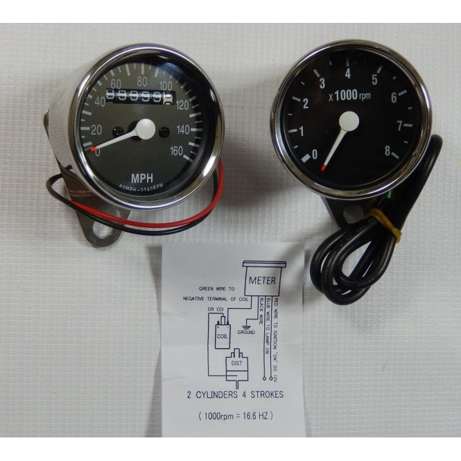 Honda Speedometer & Tachometer Set Stainless Steel Body 60mm Diameter Black Face