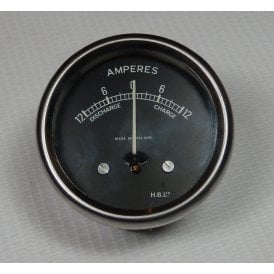 "Ammeter 2"" Diameter -12 to +12 Made in England H.B.Ltd"