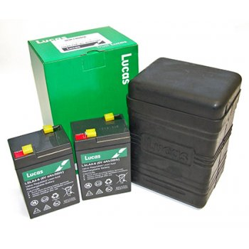 LUCAS B38-6 Battery Box (Large Type) supplied with two 6V 4.5AH Sealed Batteries