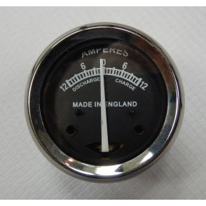"Lucas Type Ammeter 12-0-12 for Classic Motorcycle 1 3/4"" Black Face"