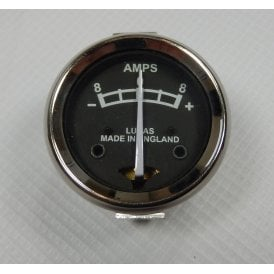 "Lucas Type Ammeter 8-0-8 for Classic Motorcycle 1 3/4"" Black Face"