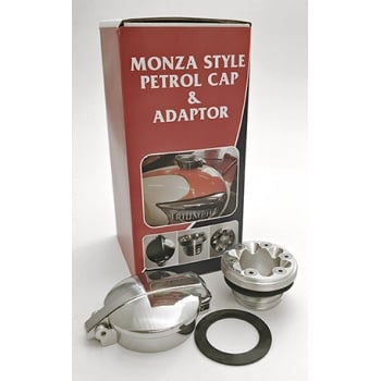 Triumph Monza Alloy Polished Fuel Cap & Adaptor Fits Hinkley s 2001 Onwards