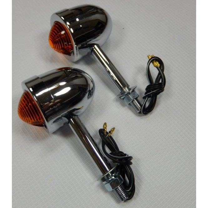 Motorcycle Custom Chrome Mini Indicators Sold as Pair 7cm Long Stem