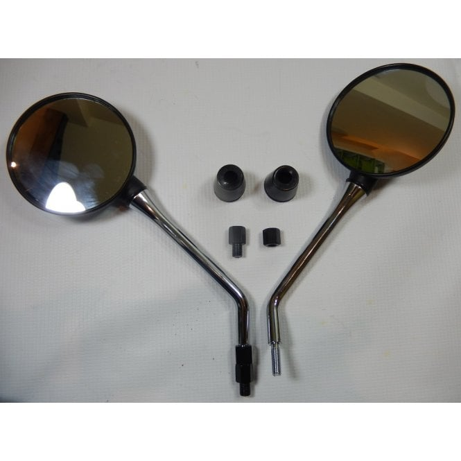 Motorcycle Mirrors Black & Chrome Round (Pair) Fits 8mm & 10mm