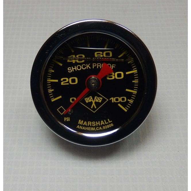 "Oil Pressure Gauge 1.5"" (40mm) Liquid filled Black Dial Yellow Digits 1/8"" NPT 0-100 PSI"