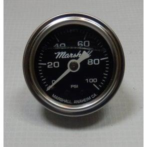 """Oil Pressure Gauge 1.5"""" (40mm) Liquid filled Dial Chromed Body 1/8"""" NPT 0-100 PSI"""