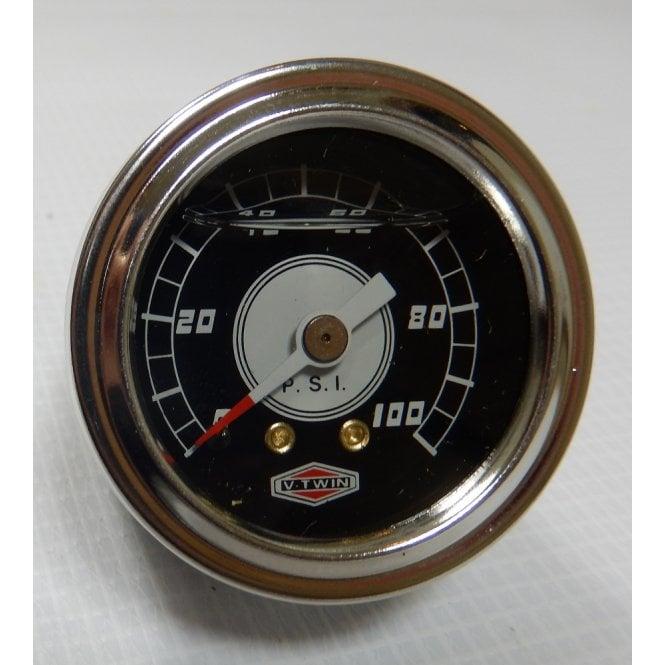 "Oil Pressure Gauge 1.5"" Liquid filled Chromed Body SS Bezel 3/8"" UNF Thread"