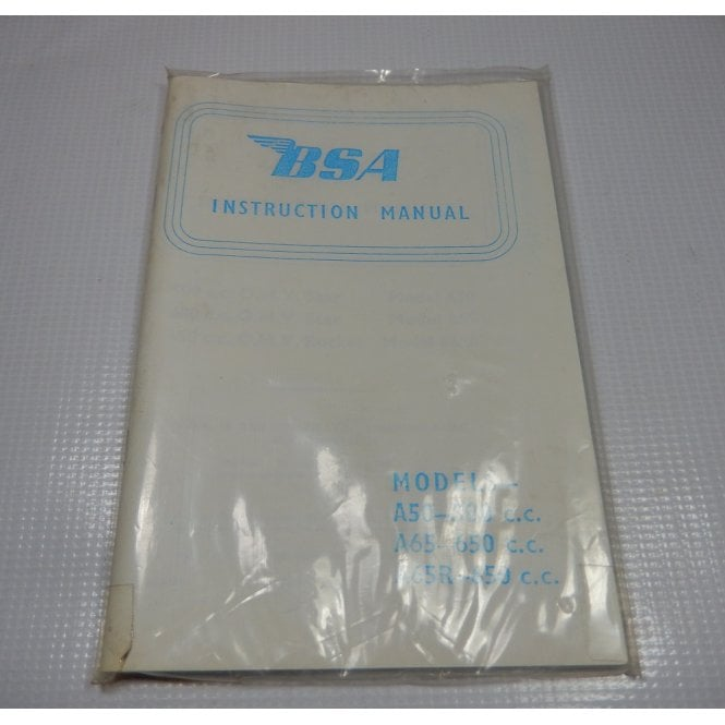 BSA Original Instruction Manual for A50, A65 & A65R Sealed In Original Packaging