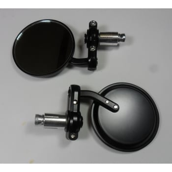 Pair of Bar End Mirrors Black Finish (Sold as a Pair)