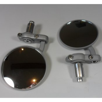 Pair of Bar End Mirrors Silver Grey Finish (Sold as a Pair)
