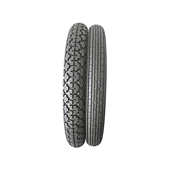 Pair of Classic Motorcycle Tyres Front Ribbed & Rear 6 Ply Rating