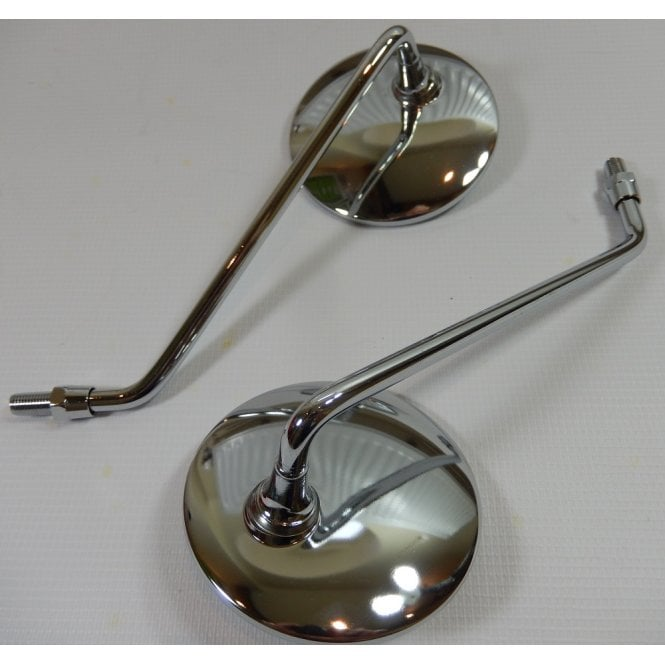 """Pair of High Quality Chrome Mirrors Round 4"""" Left & Right Hand Set 10mm Fixing"""