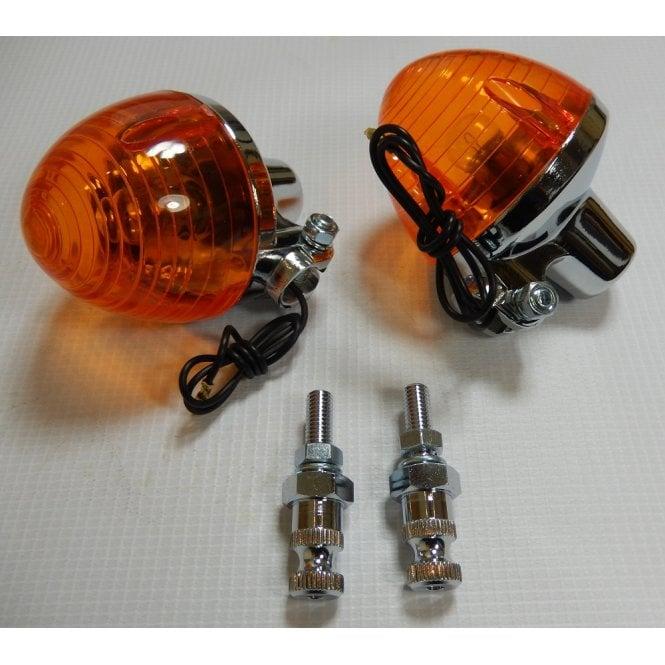 Complete Indicator Honda C50 C90C Rear Chrome with Stem Amber C70