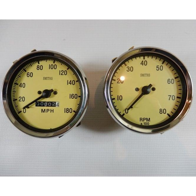 Smiths Instruments Classic Car / Matching Smiths Replica Speedometer & Tachometer Black & Magnolia Finish