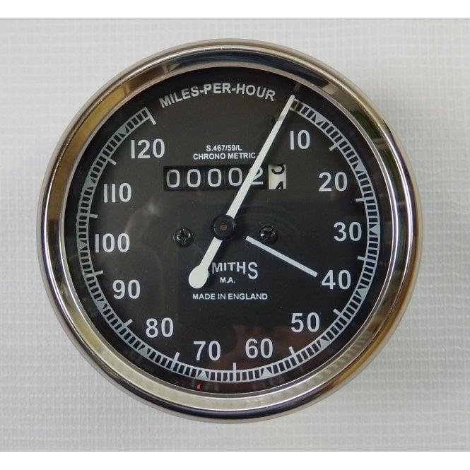 Smiths Instruments Smiths Replica Speedometer 0-120 MPH Black Body 2:1 Ratio UK Speedometer Fitting