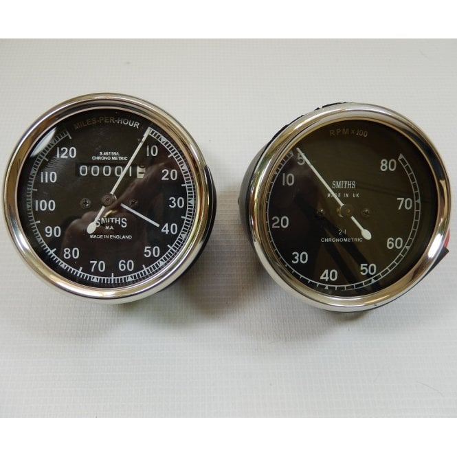 Smiths Instruments Smiths Replica Speedometer / Tachometer Matching Set 0-120MPH, O-8,000RPM
