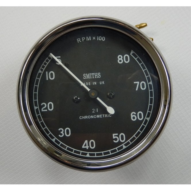 Smiths Instruments Smiths Replica Tachometer 0-8000 Black Body 2:1 Ratio UK Cable Fitment