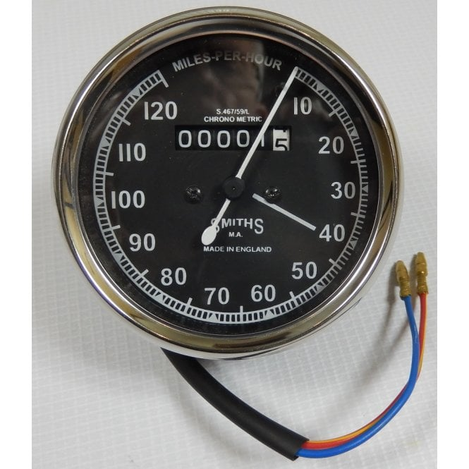 SMITHS INSTRUMENTS Smiths Type Speedometer 0-120 MPH Black Body 2:1 Ratio UK Speedometer Fitting