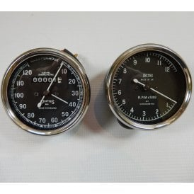 Smiths Type Speedometer / Tachometer Matching Set 0-120MPH, O-12,000RPM