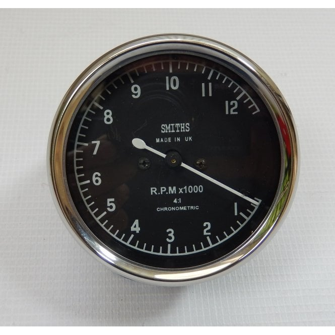 Smiths Instruments Smiths Type Tachometer 0-12,000 RPM Black Body 4:1 Ratio UK Fitting