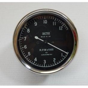 Smiths Type Tachometer 0-12,000 RPM Black Body 4:1 Ratio UK Fitting