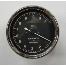 Smiths Type Tachometer 0-12,000 RPM Black Body 4:1 Ratio UK Speedometer Fitting
