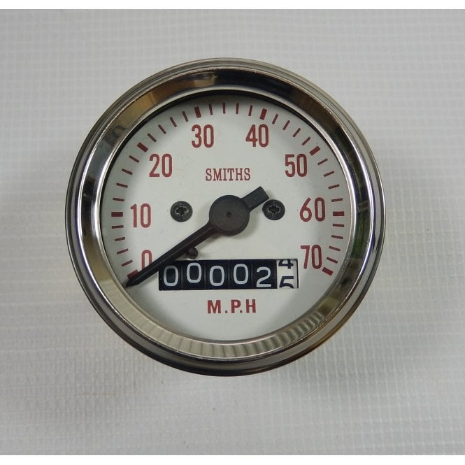 Smiths Instruments Triumph / BSA Bantam, C15, B40 Smiths Replica Speedometer 0-70MPH Complete With Fixings