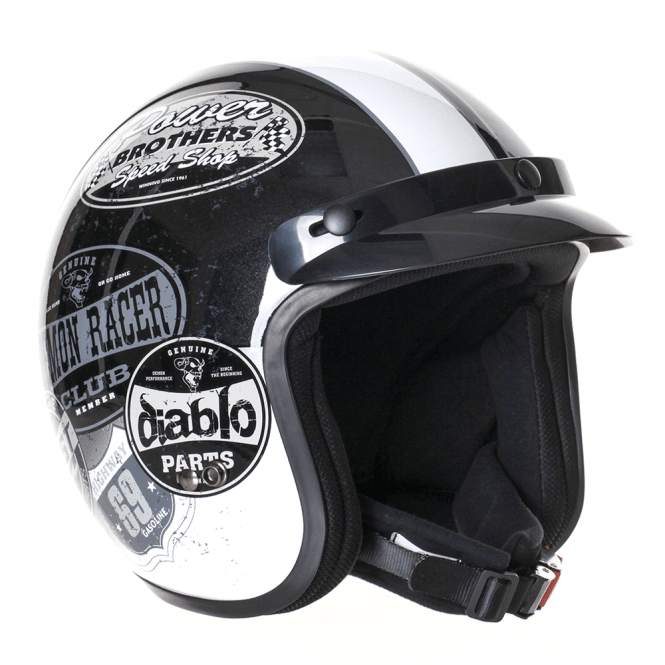 Stealth HD320 Mono Adult Open Face Helmet - Black & White Retro Style