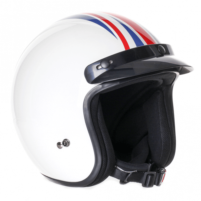 Stealth HD320 Union Jack Adult Open Face Helmet - White Retro Style