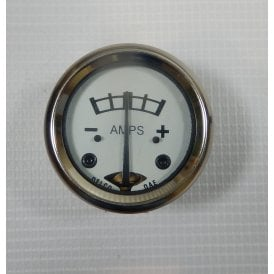 "Sunbeam / BSA Ammeter 8-0-8 White Face for Classic Motorcycle 1 3/4"" Diameter"