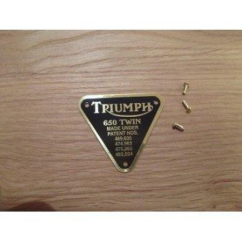 Triumph 650 Twin Patent Plate Brass