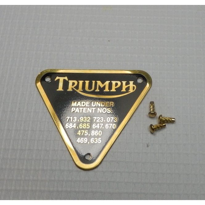 Triumph Bonneville Brass Patent Plate With Rivets Made in UK OEM No 70-4016A
