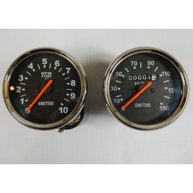 Triumph, BSA, Norton Speedometer & Tachometer Set Black Face
