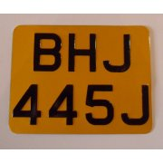 Classic Motorcycle Rear Number Pate Aluminium Plate Yellow & Black