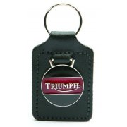 Triumph Leather Backed Key Fob & Enamel Badge With Triumph Logo