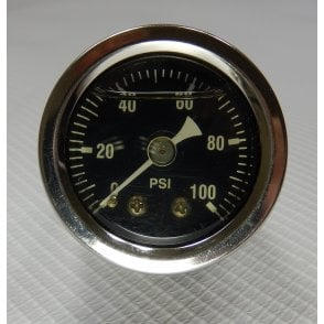 "Oil Pressure Gauge 1.5"" Liquid filled Dial Chromed Body 1/8"" NPT 0-100 PSI"