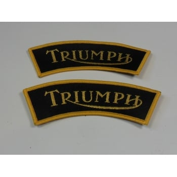 Triumph Sew on Badge Gold & Back Sold in Pairs
