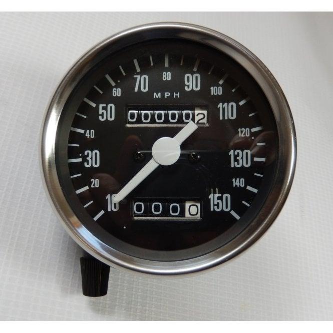 Triumph Speedometer Head Black Face White Needle 0-150MPH 1968-78