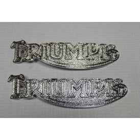 "Triumph Tank Badges Chrome Small Type Sold as a Pair 4.5"" Long"