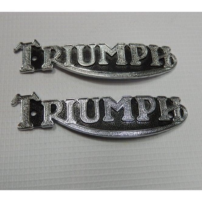 Triumph Tank Badges Pair Chrome With Black Background OEM No 82-1283, 82-3496