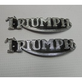 Triumph Tank Badges Pair Chrome With Black Background OEM No 82-1283, 82-3496