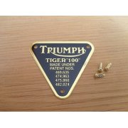 Triumph Tiger 100 Brass Patent Plate