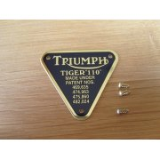 Triumph Tiger 110 Brass Patent Plate