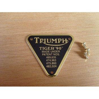 Triumph Tiger 90 Patent Plate Brass