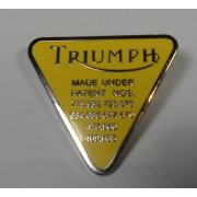 Triumph Pin Badge Yellow Enamel & Chrome Finish Made in UK