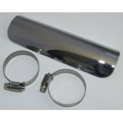 "Universal Chrome Heat Shield 7"" long Complete With Clips"