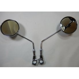 "Universal Classic Motorcycle Clamp-on Chrome Mirror Round 7/8"" Handlebars (Pair) E marked"